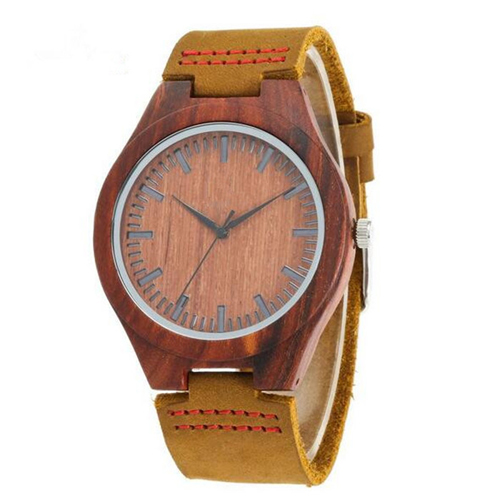Customized Vintage Style Men and Women Dress Watch Leather Quartz Wood Wooden Watch