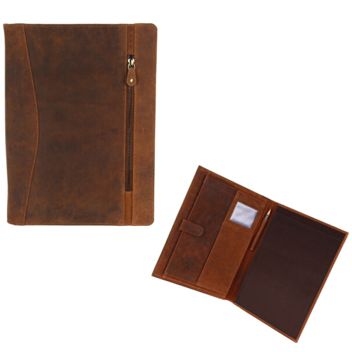 Boshiho Luxury zipper expanding file folder Elegant business crazy horse vintage cowhide leather Padfolio