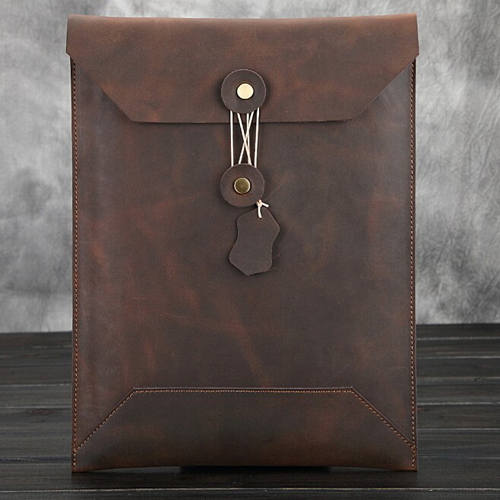 Soft leather sleeve messenger bag for ipad and laptop