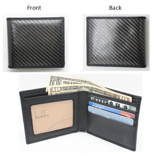 Boshiho Amazon hot sale real leather carbonfiber wallets