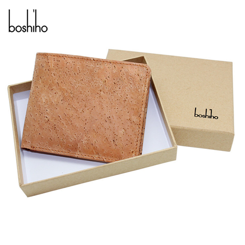 brown cork material card slots and coins slots with cork wallet