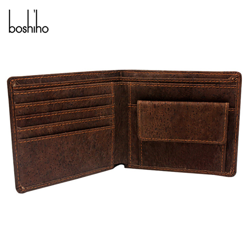 Men Wallet Leather Eco Products Cork Bifold Wallet with Coin Pocket