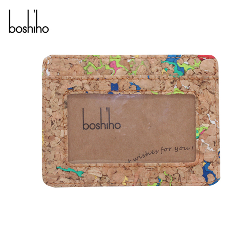 Boshiho wholesale eco friendly men cork card slots