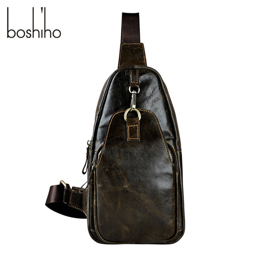 Boshiho New Design High Quality Young Men Cross Body Leather Sling Chest Bag