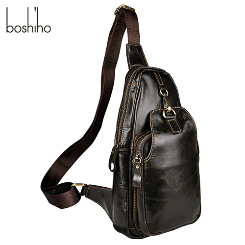 Boshiho Factory Wholesale Customized Crossbody Chest Bags Men Leather Sling Bag