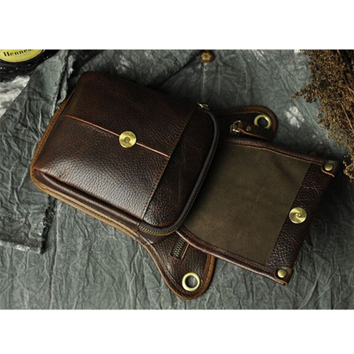 Boshiho Crazy Horse PU Leather Men Crossbody Small Shoulder Fashion Waist Bag