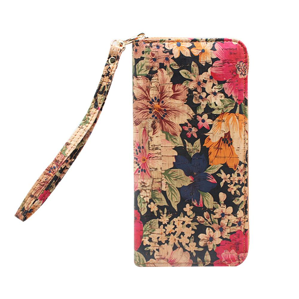 Boshiho Cork Wallet Zipper Around Cell Phone Clutch Purse for iPhone X 8 7 6 6s Plus 5 5s Samsung Vegan Gift